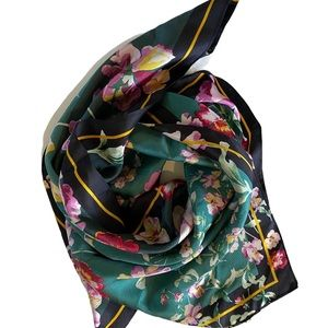 Unbranded Emerald Green Spring Floral Square Scarf